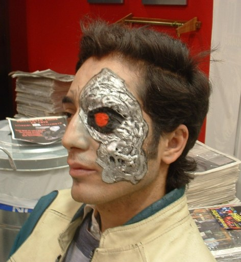 """Theatrical """"Terminator"""" halloween makeup. Done with foam gelatine, airbrush makeup, water-based make-up and a piece of cotton."""