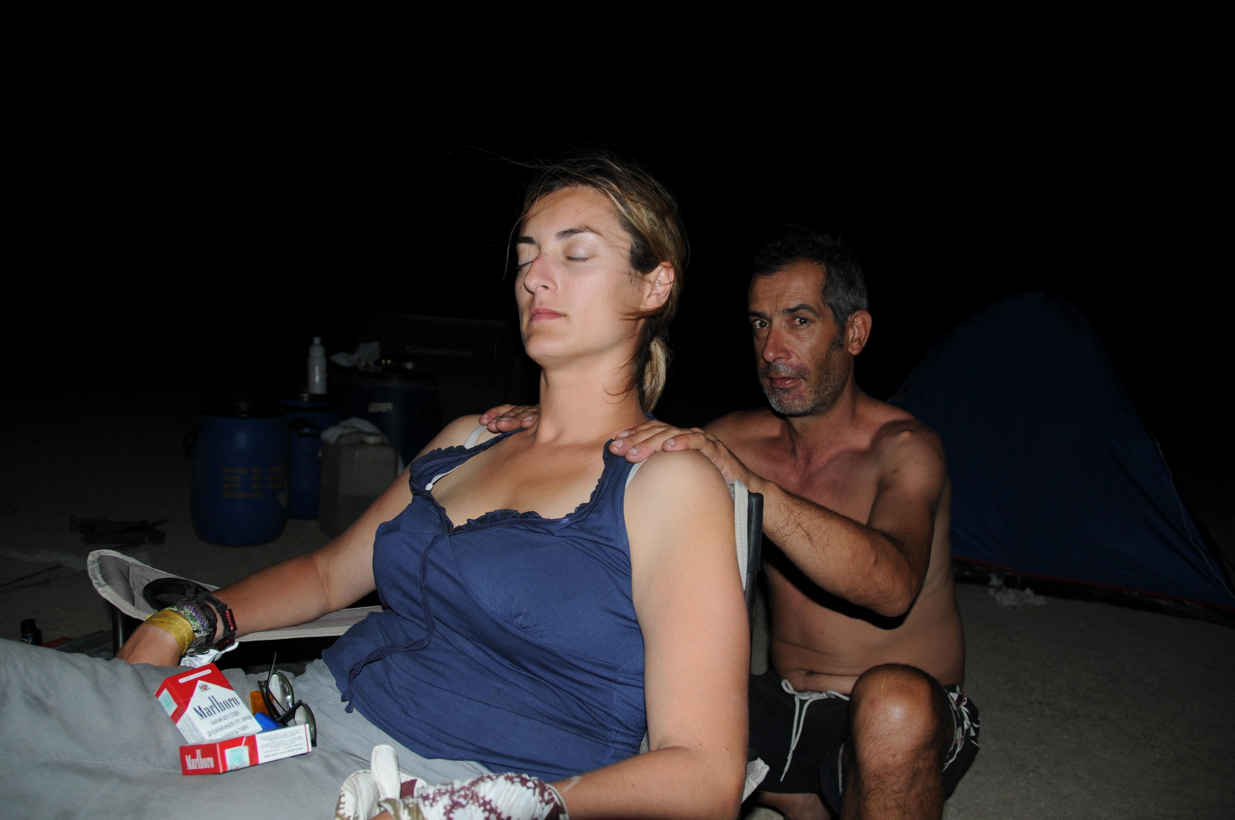 ... y acampada, con masaje incluido!