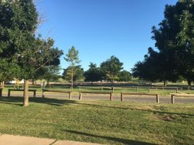 """This is a city RV park in Sayre Oklahoma. Norm's Mom and Dad told us about and we gave it a shot. As you can see, it is very nice to look at and the price, at $16.00 U.S. dollars for electric and water, we thought was a good deal. The down side, that Norm's Mom and Dad did not tell us about was the rest rooms and showers. We can sum them up with one word, nasty! They may have been donated to the city by a prison or possibly a land fill. We can highly recommend this park if you don't need the above mentioned facilities ( calling those things """"rest rooms"""" is speaking falsely)."""