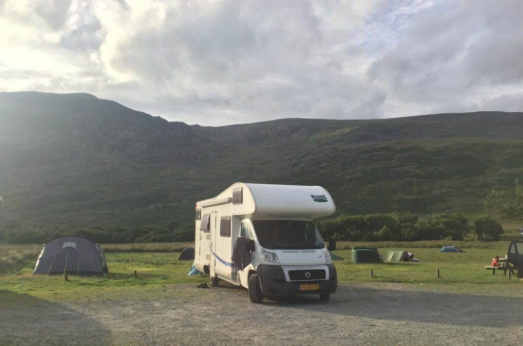 Camping by Tryfan in Snowdonia on 2 week road trip UK