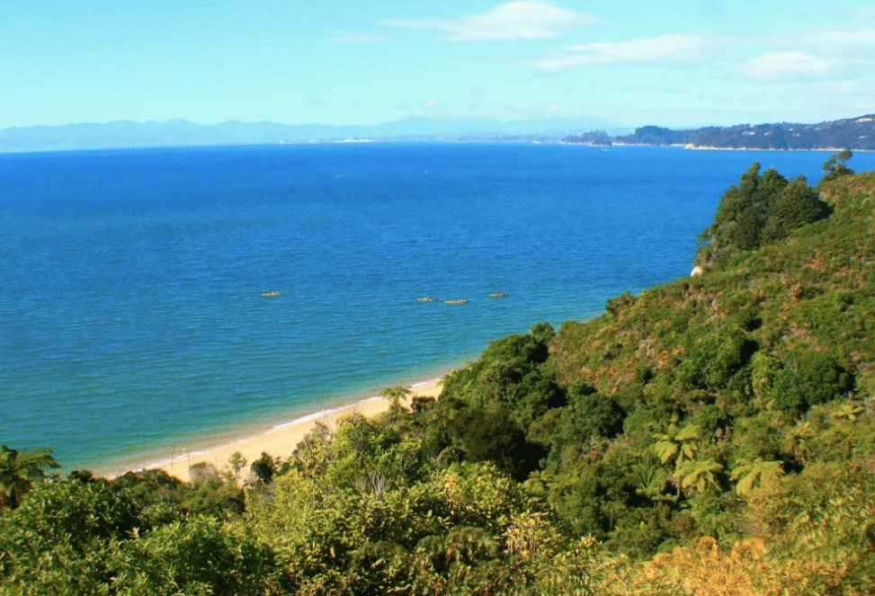 Views toward Marahau, How to backpack Abel Tasman: 3-4 day Abel Tasman Backpacking Itinerary