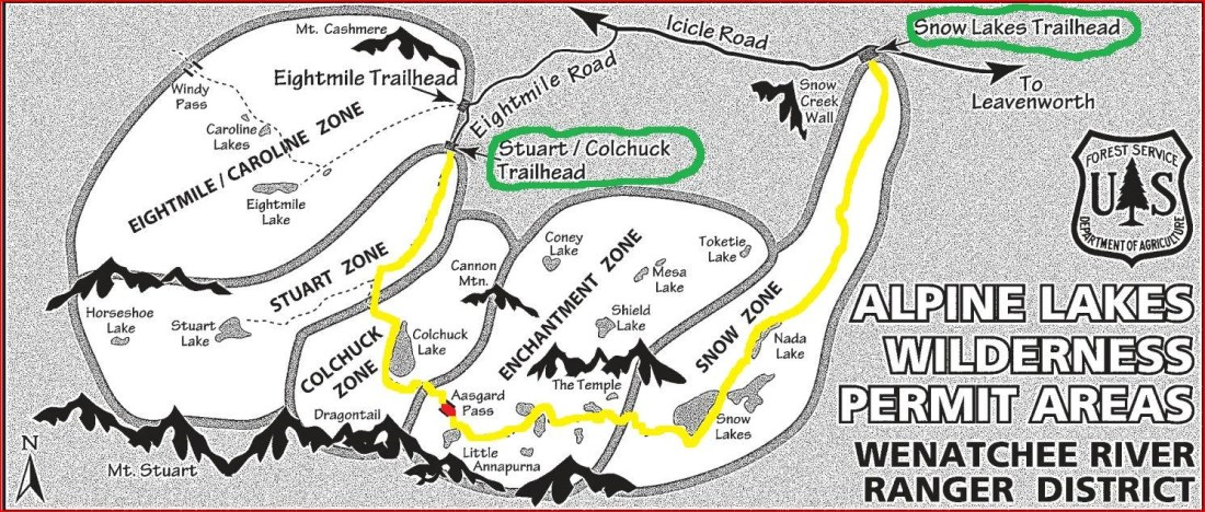 Map of Enchantment Hike