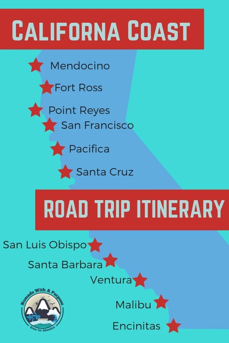 2 Week California Coast road trip itinerary Pinterest