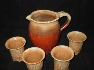 Tri-colored Pitcher and Hand-carved cups