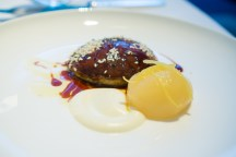 Sautéed Foie Gras Glazed with Preserved Pear, White Sesame and