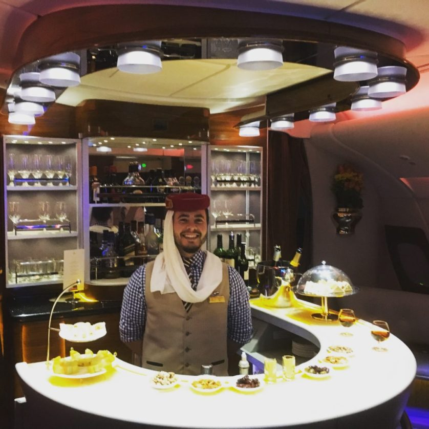 Ben running the Emirates First and Business Class Bar