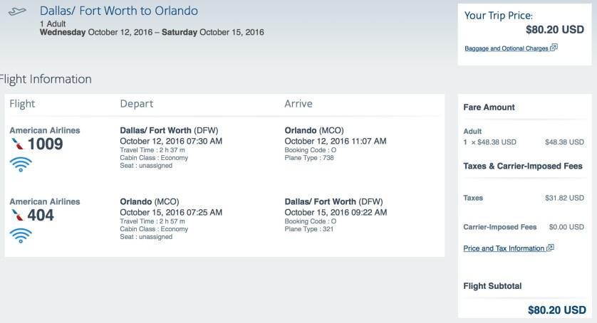 Dallas to Orlando, American