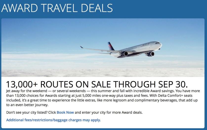 Delta Award Travel Sale