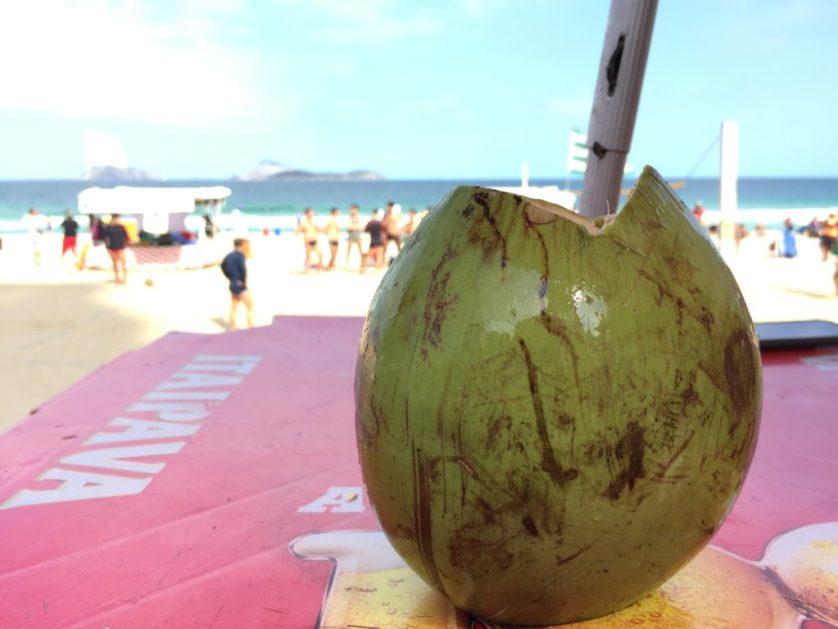 Fresh, tasty coconut on the beach