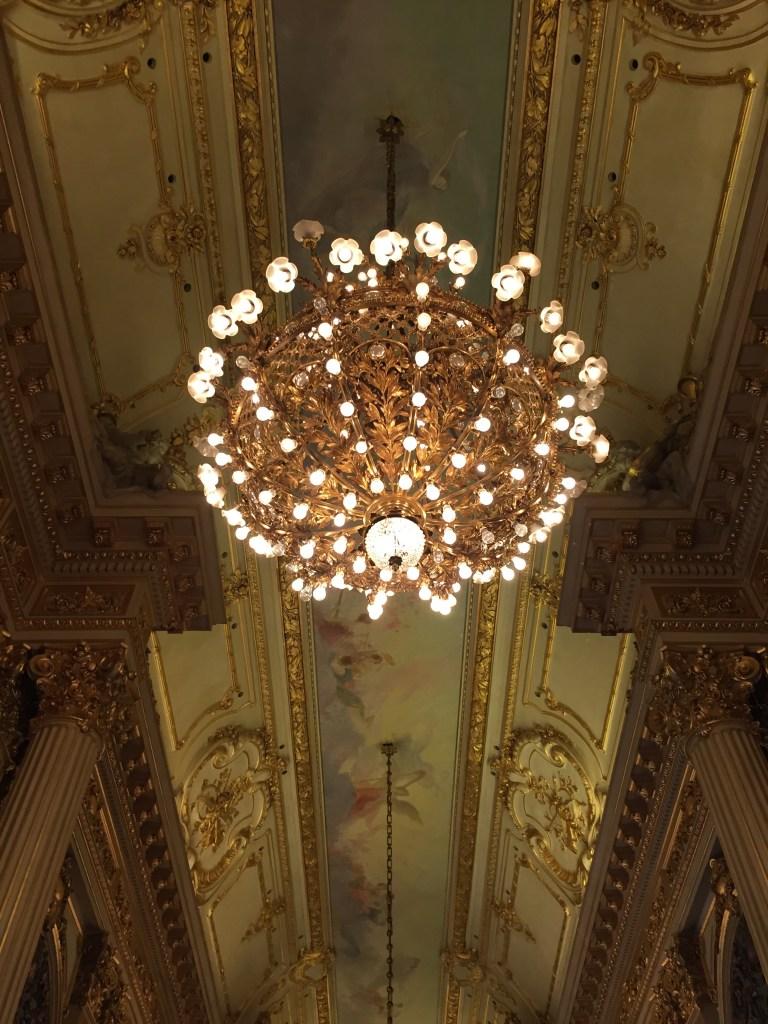 Chandeliers in the hallways of Teatro Colon