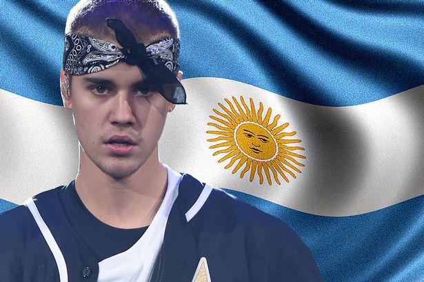 Justin was banned from Argentina too! From the mirror.co.uk