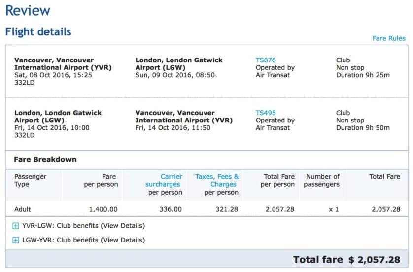 Air Transat Business Class Options