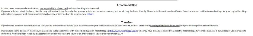 Cancel Hotels and Transfers