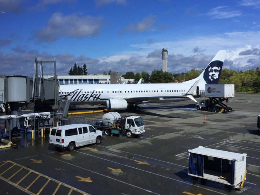 Alaska planes parked at the gate