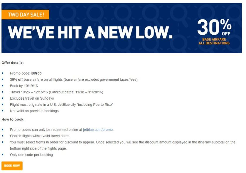 Jet Blue Terms of We Go Lower Promotion
