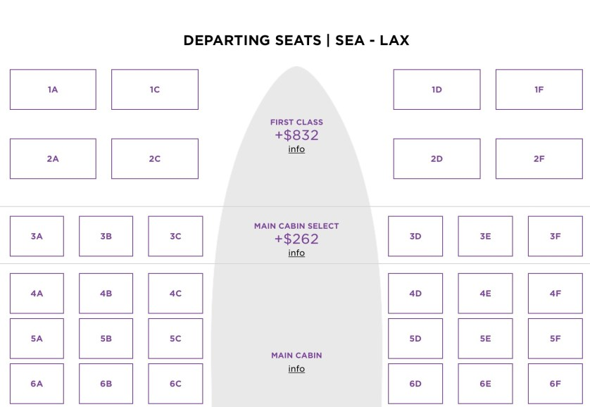 Virgin America Seat Selection