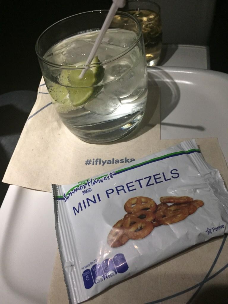 Alaska drink and pretzels