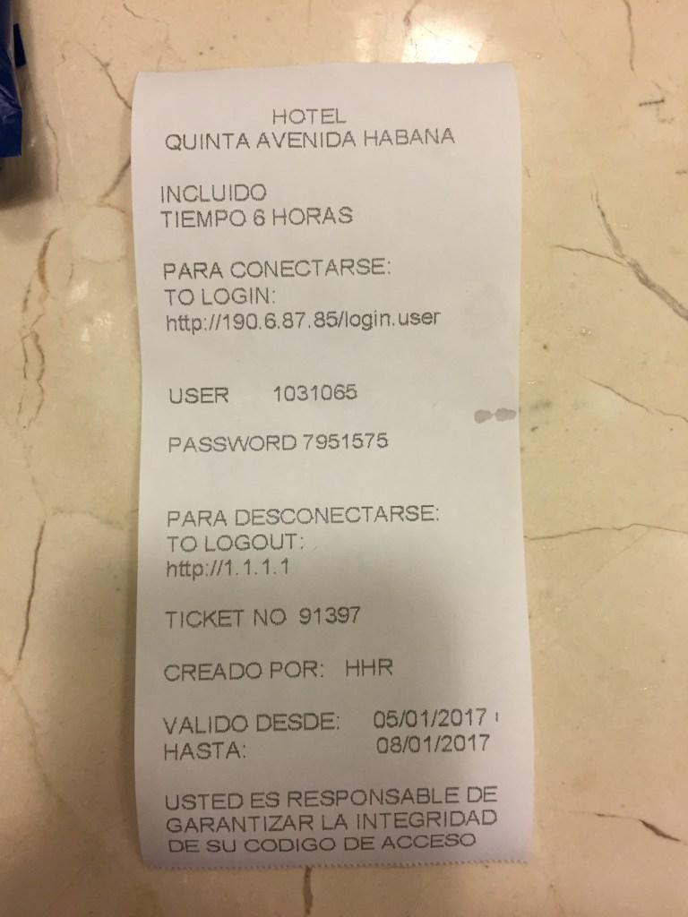 Four Points Havana WiFi Internet Code