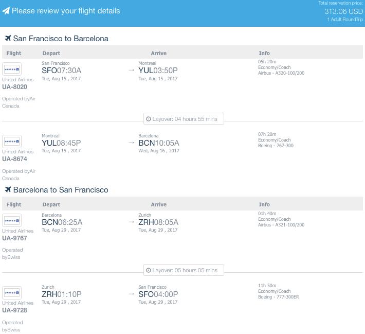 Barcelona United Airlines Fare