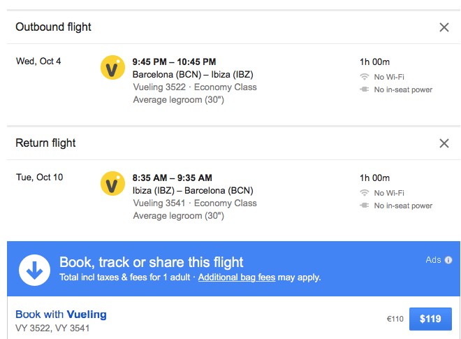 Vueling flight to Ibiza, only $119