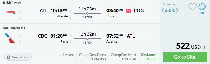 Atlanta to Paris August