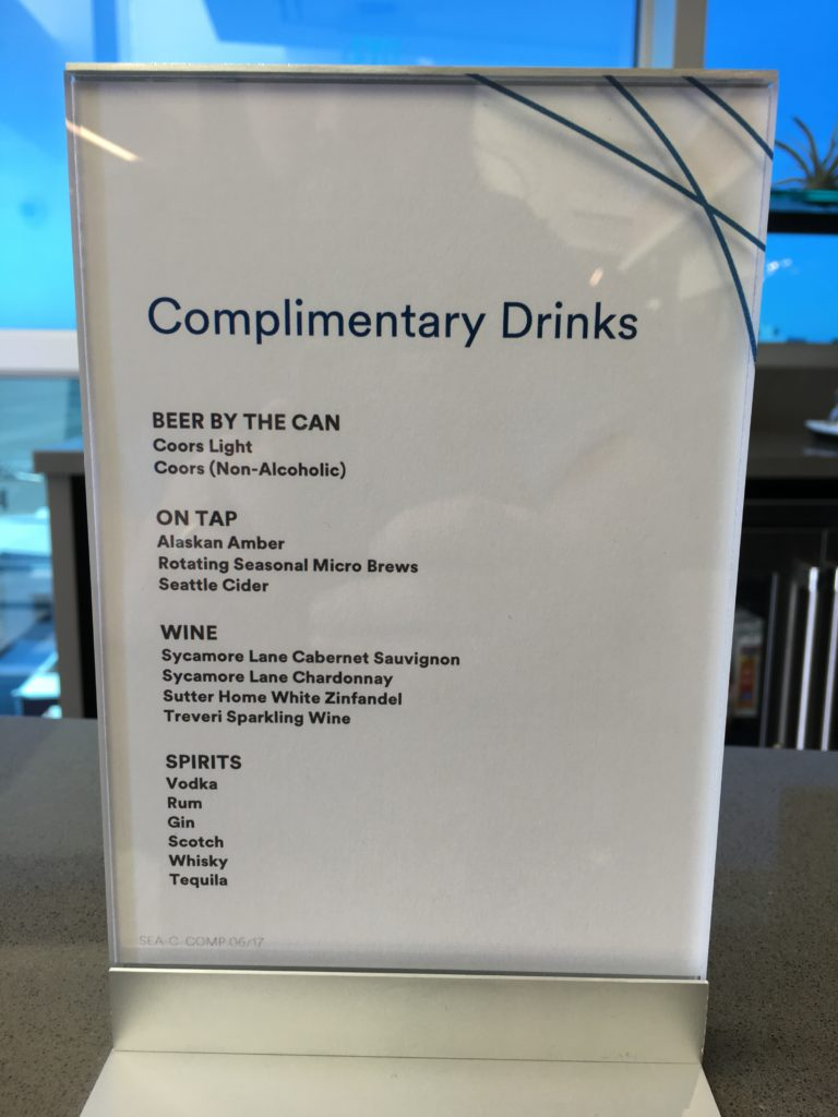 Alaska Airlines Beverage selection