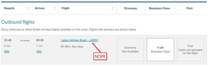 TAM flight availability but not bookable on Alaska