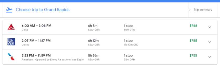 Flights SEA to GRR, Google Flights