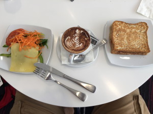 Sandwich, salad, and mochachino