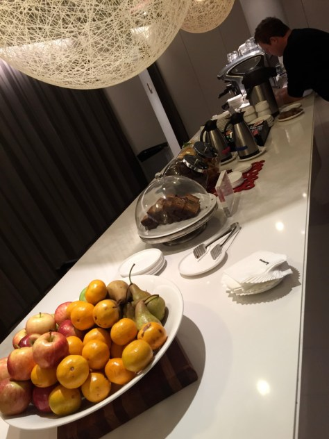 Coffee, Tea, Pastries, and fruit (to go station)