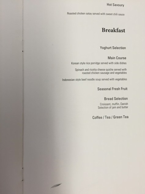 Korean Air Business Class Breakfast Menu