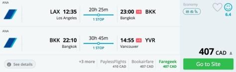 Ana, Bangkok and Vancouver