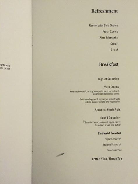 Korean Air Breakfast Menu