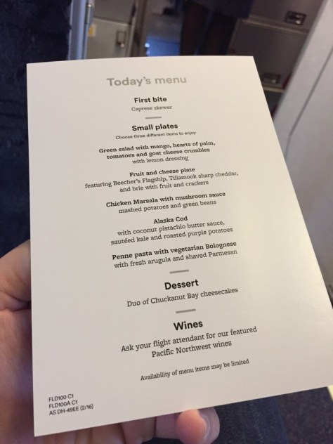 Alaska Airlines new menu