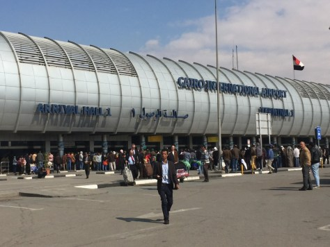The mess of people at the Cairo Arrivals Terminal