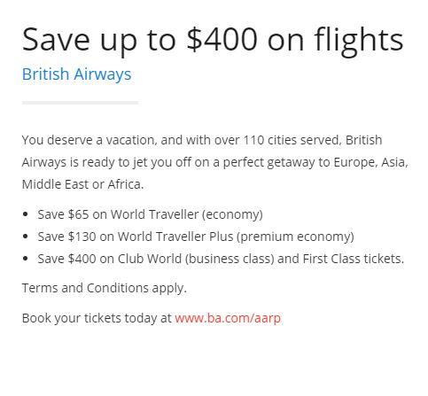 AARP British Airways Discount
