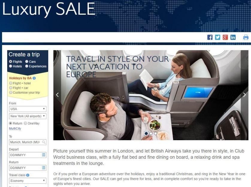 British Airways Luxury Sale