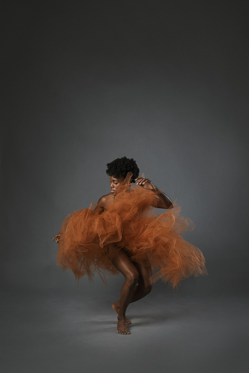 Paige Fraser dancer Nomee Studio with copper tulle skirt