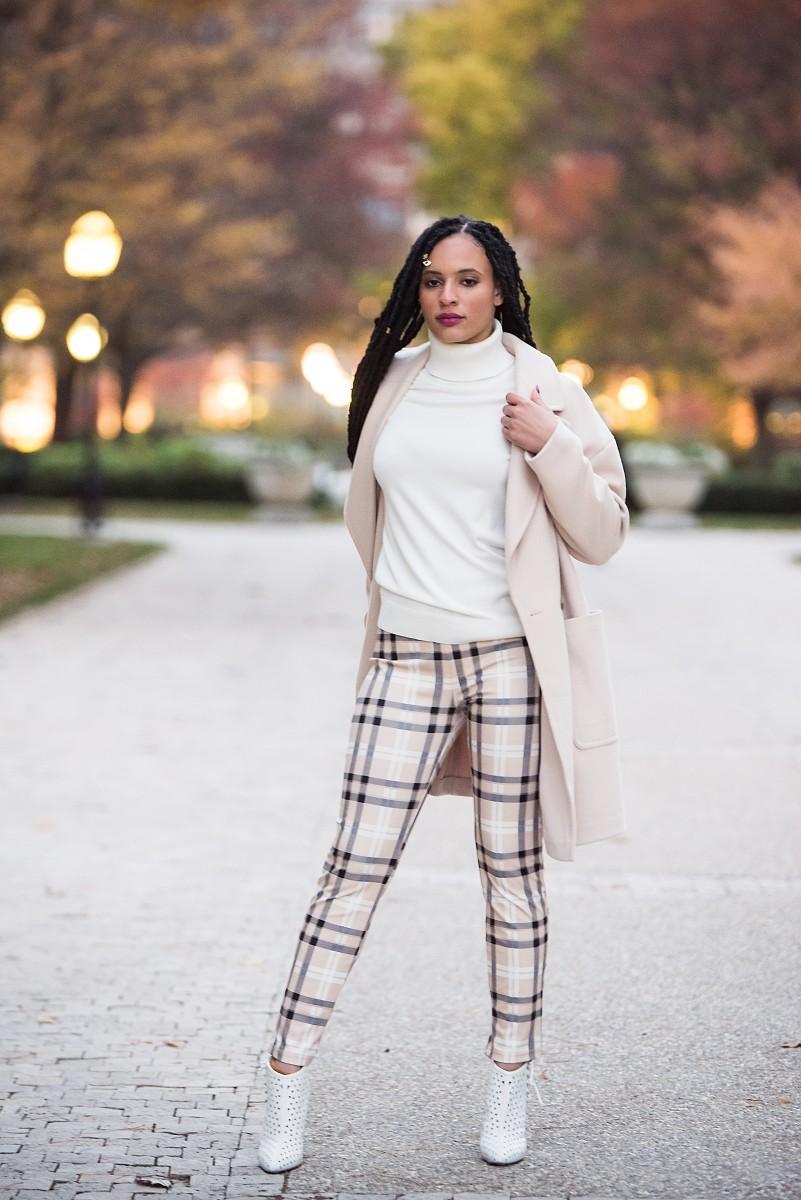 Diamond Cream Coat Plaid Pants