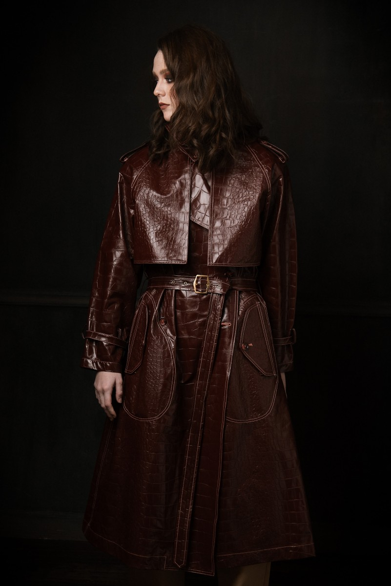 Model Annika Cappis in Nomee Photography Studio Editorial Marroon Snake Print Leather Coat profile