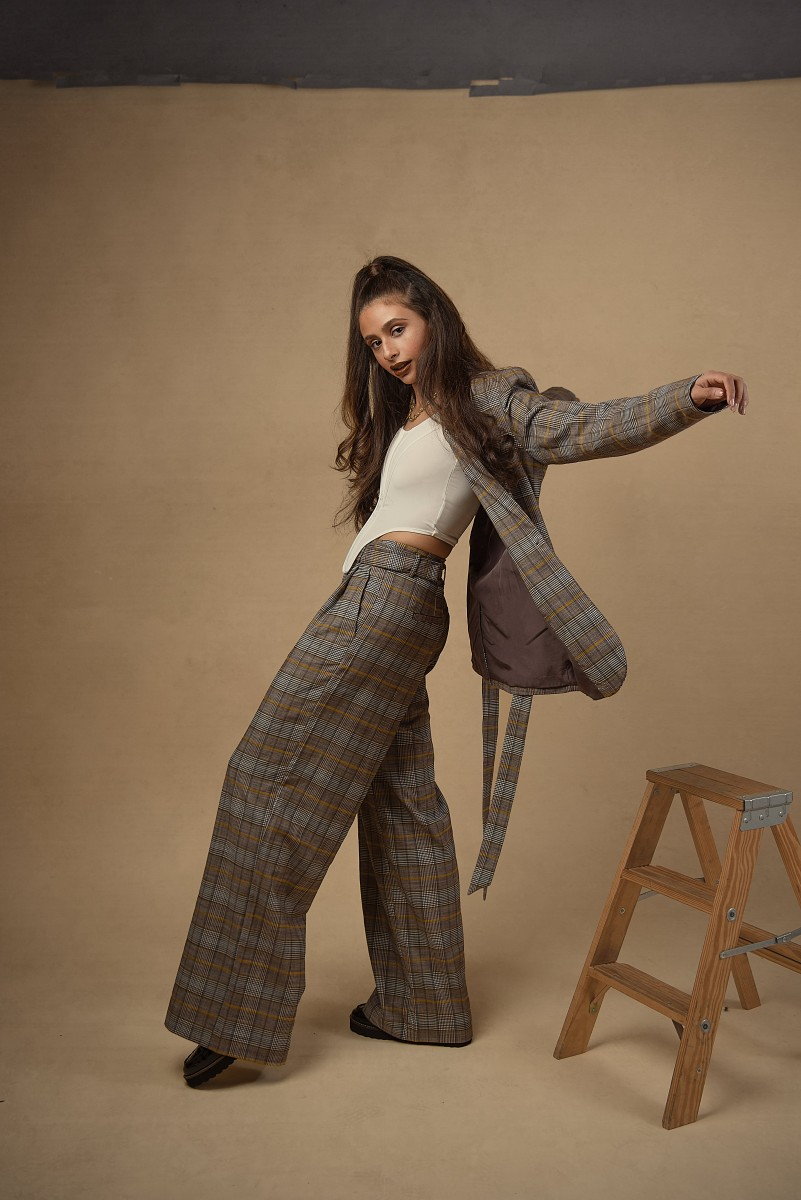 Zoe Plaid oversized suit with high pony