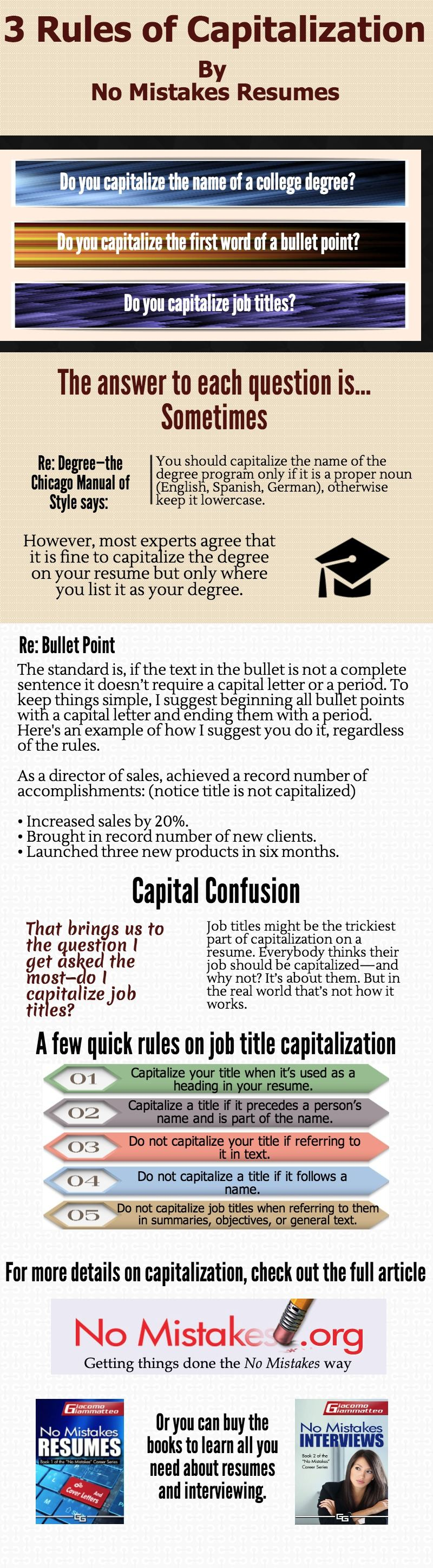 3 rules for capitalization on resumes