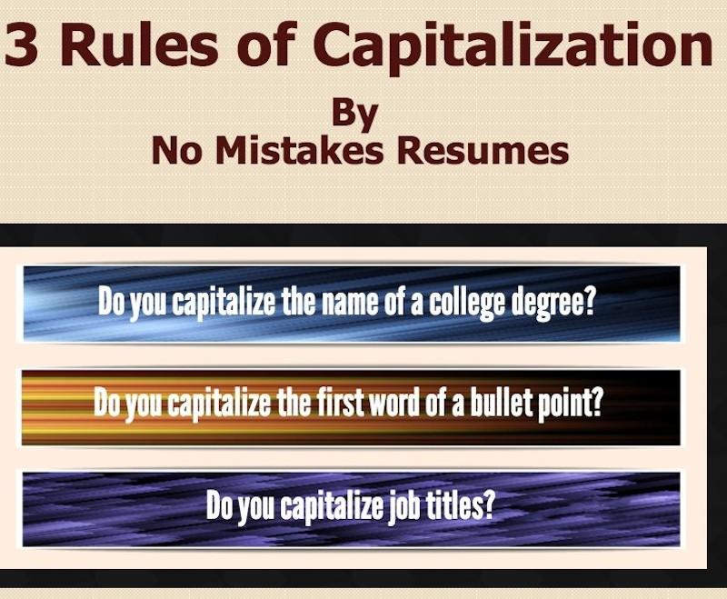 resume capitalization rules