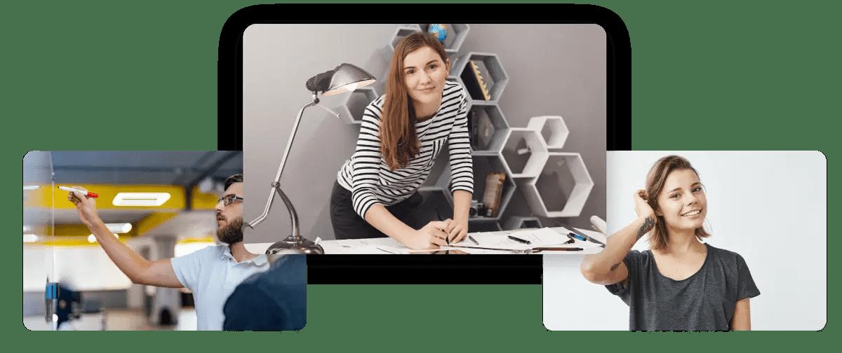 Diseño web Wordpress representado con collage de diferentes tipos de negocios