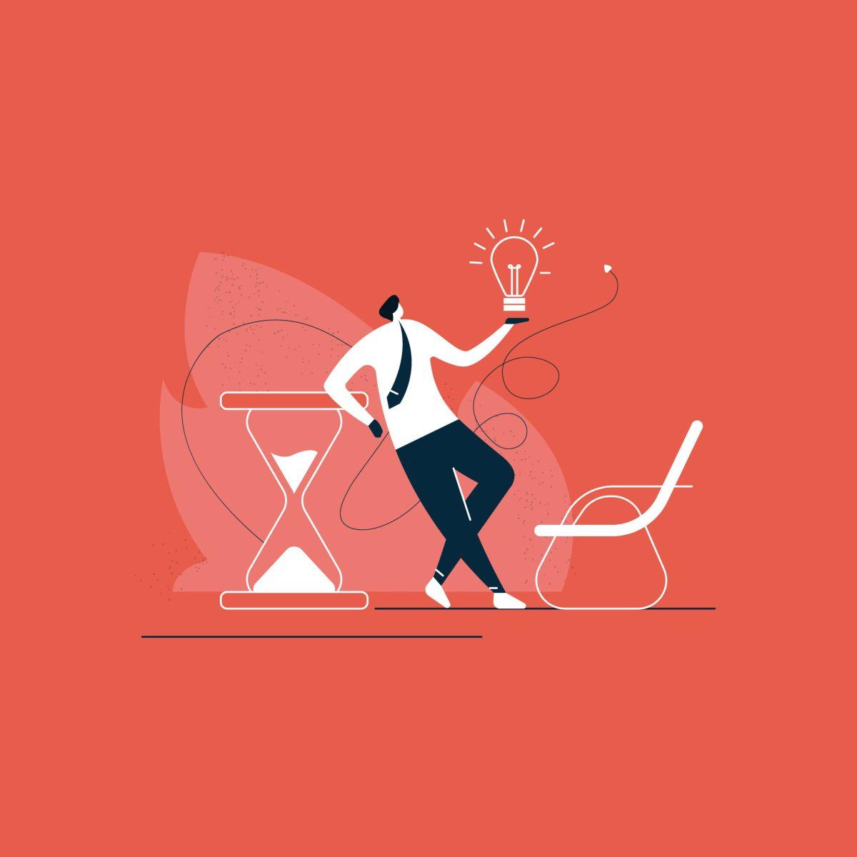 Ilustración que representa el concepto Insights con una persona emprendedora con las ideas claras