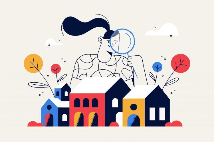 Ilustración de una chica buscando en la ciudad con colores estilo Google