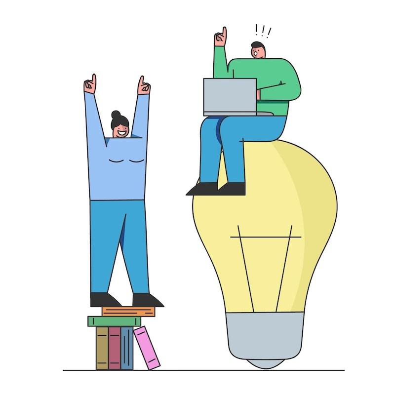 Equipo creativo trabaja en equipo para crear contenido web