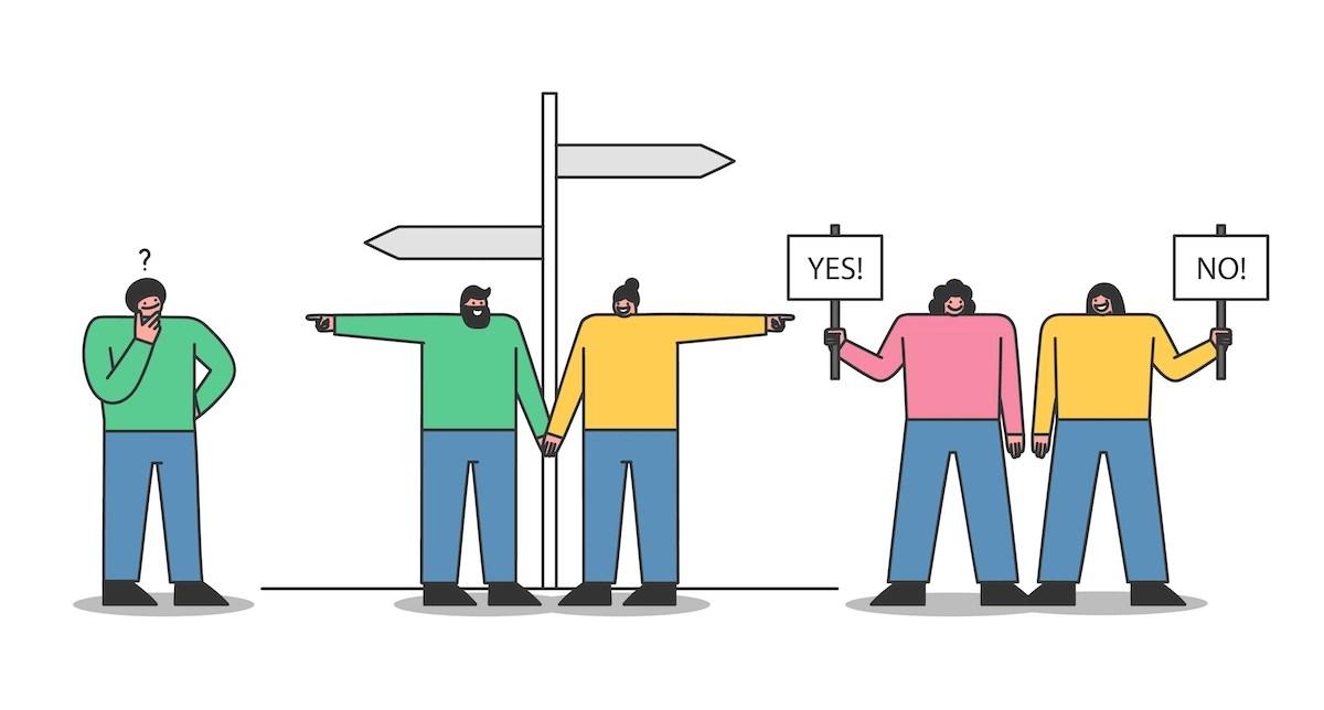 La gente toma decisiones. Concepto: tendencias de búsqueda.