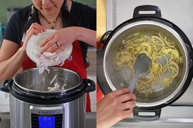 Sliced shallots are added to an open Instant Pot. The image on the right is an overhead shot of someone sautéing sliced shallots and smashed garlic cloves.