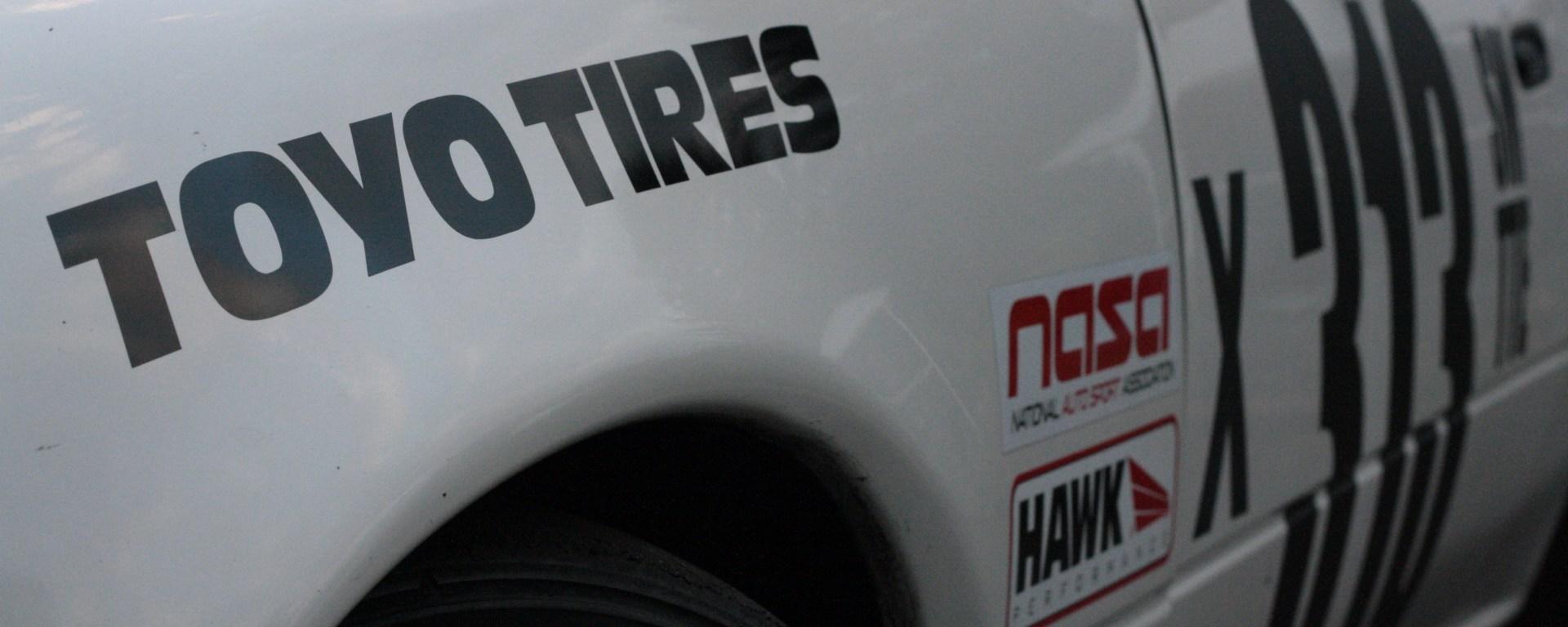racecar sponsor stickers TOYO Tires NASA Hawk Performance
